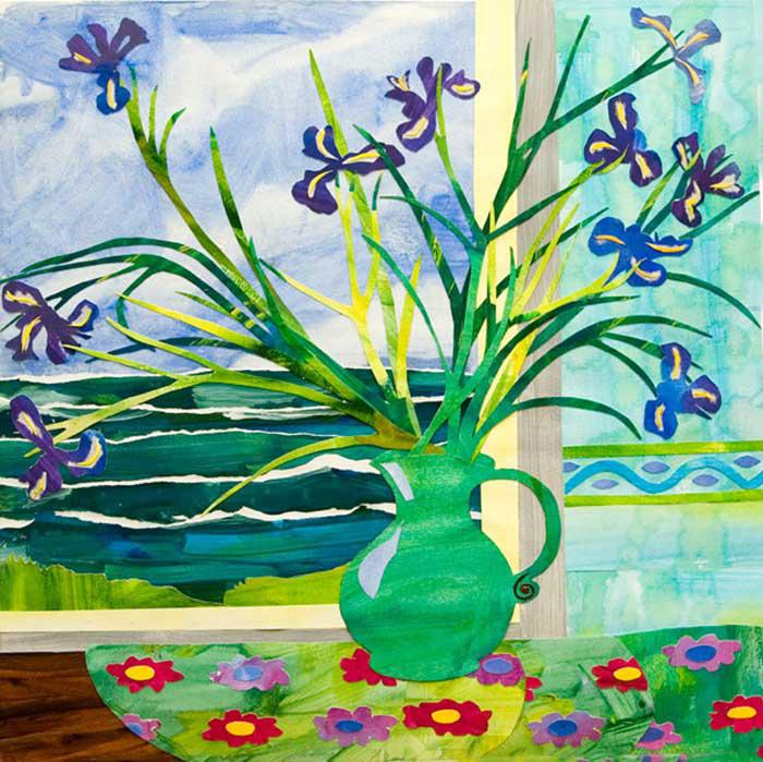 Green Jug with Irises